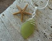 Genuine Lemon/Lime Sea glass and Sterling Pendant