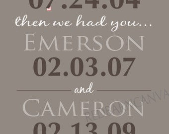 First we had each other, Personalized Family dates, Dates to Remember, Important Family Dates,  anniversary gift