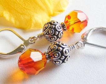 Swarovski Fire Opal Crystal Earrings with Fancy Silver Beads on Leverbacks. Fall. Foliage. Fiery. Flame. Vibrant. Orange. Yellow.