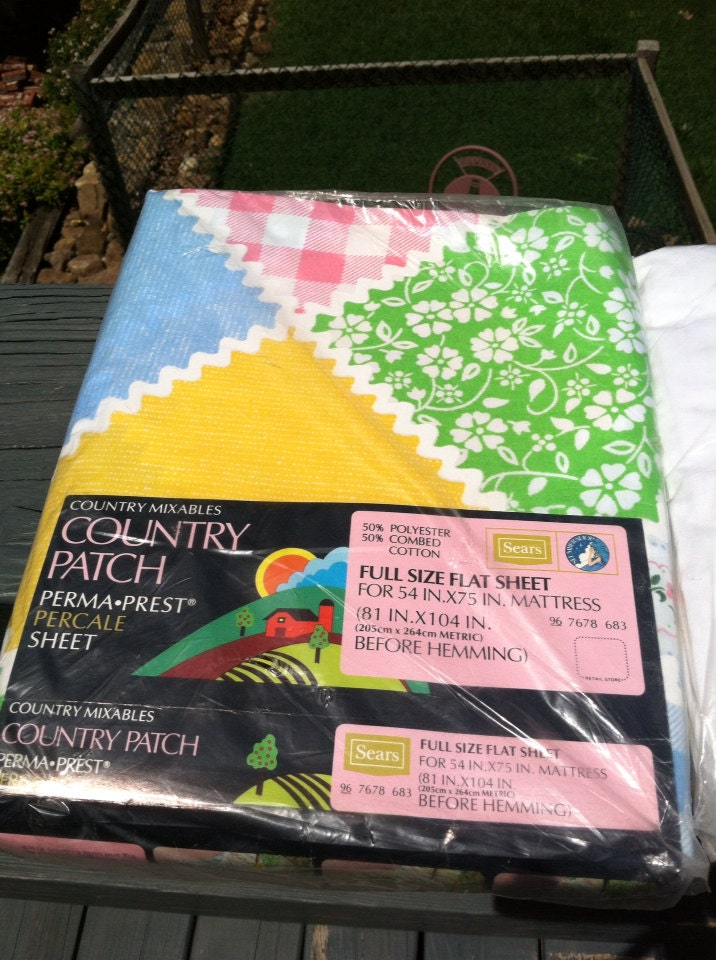Three Vintage Sears Percale Sheets Country Mixables Perma