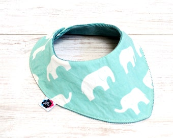 Organic baby bandana bib. Drooling bib - cord and elephants