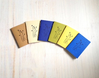 Tiny Journals: Notebooks, Flowers, Leaves, Blue, Brown, Yellow, Kids, Small Notebooks, Unique, Gift, Stocking Stuffer, For Him, For Her