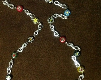 Glasses Lanyard with Milifiori Glass Beads, Glasses Chain