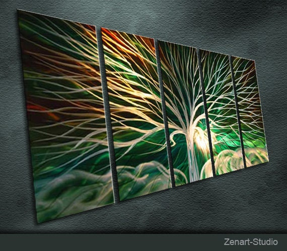 """Original Handmade Metal Wall Art Modern Abstract Painting Sculpture Indoor Outdoor Decor """"The Tree Of Peace"""" by Ning"""