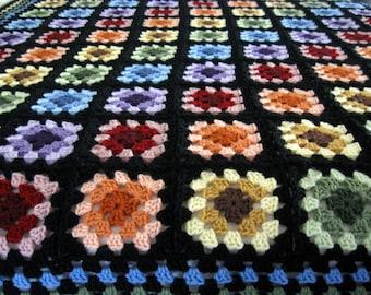 Granny Square Afghan - Black Blanket | Crochet Afghan Blanket | Crochet Blanket | Soft Blanket | Couch Blanket | Granny Square Blanket