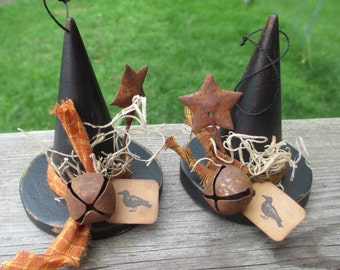 Witch Hat Halloween Ornament, Wood Hats, Halloween Witch, Harvest Decor, Party Favors, Primitive Witch Hat