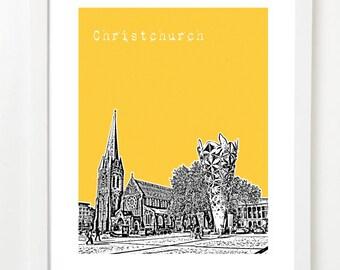 Christchurch Art Print - Christchurch, New Zealand Skyline Poster - City Art -