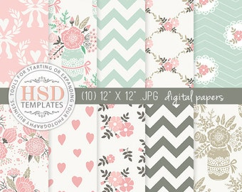 Shabby Chic Digital Paper - Pink Mint Brown Rustic Digital Papers - Floral Digital Scrapbook Paper - Digital Background - DP137