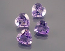 Amethyst: 3.05twt Purple Heart Shape Gemstone Parcel, 4 Natural Hand Made Faceted Gems, Loose Precious Quartz Mineral, Jewelry Supply 11015