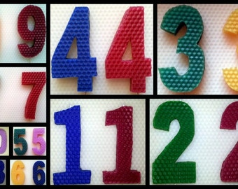 Birthday/Cupcake Candles - NUMBERS or LETTERS - 100% Beeswax All Natural