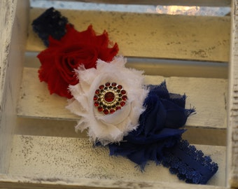 4th of July Shabby Flowers Headband (Red, White and Blue)