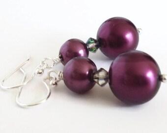 Dark Purple Earrings, Purple Pearl Earrings, Eggplant Earrings, Faux Pearl Earrings, Pearl Dangle Earrings, Pearl Drop Earrings, Plum