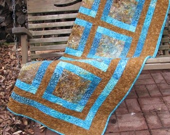 Lap Quilt, Sofa Quilt, Quilted Throw - Brown and Teal