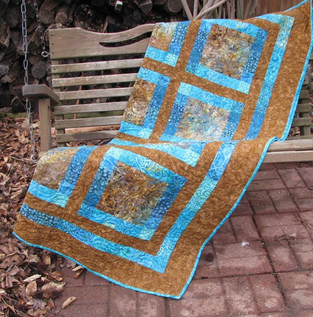 Lap Quilt Sofa Quilt Quilted Throw Brown and Teal