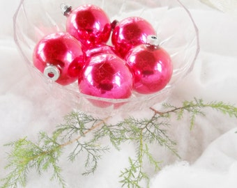 Vintage Mercury Glass Christmas Tree Ornaments, Boxed Set of 6, Antique, Pink, Franke, Cranberry