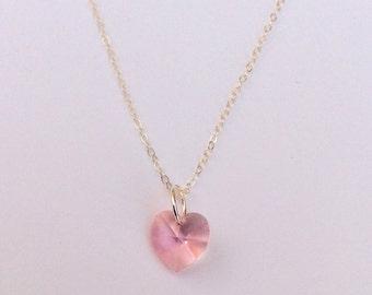 Heart Pink Swarovski Crystal & Sterling Silver Necklace
