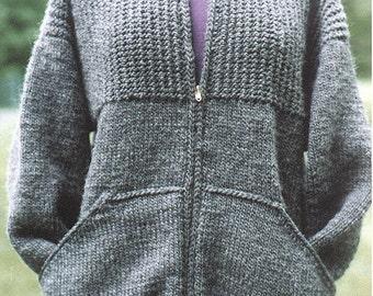 Knitting Pattern-Sweatshirt Jacket for Women, knit women zippered jacket pockets pattern, cardigan pattern, Lamb's Pride Bulky, PDF pattern