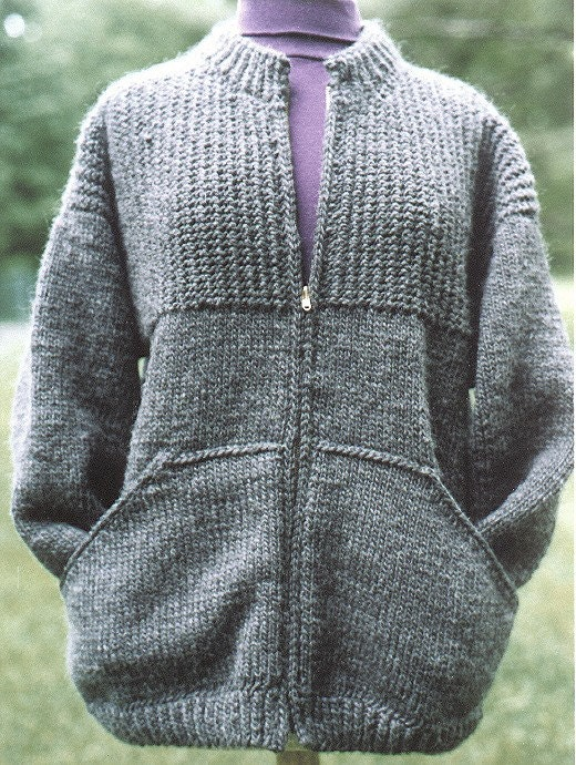 Knitting Pattern Zippered Cardigan : Knitting Pattern-Sweatshirt Jacket for Women knit women