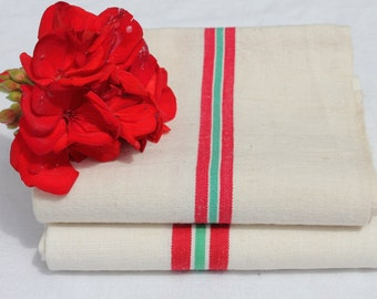 Set of Two Kitchen towels, French Torchon from the 1950's