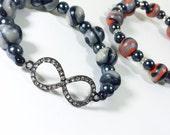 Gunmetal Infinity Bracelet Set