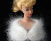 Beautiful Handmade Barbie Pure French Angora Hand Knitted Stole Shawl Wrap -E618-
