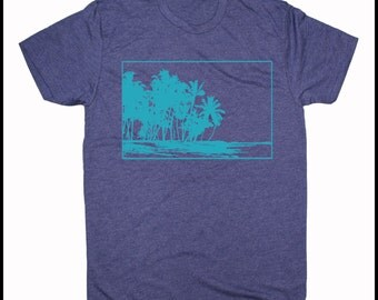 Men's Makalawena Beach Hawaii Retro Coconut Palm Trees Shirt Hawaiian Islands