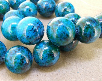 "Charm Large Round Azurite Chrysocolla Jasper Gemstone Beads--- 18mm ----about 22Pieces----15.5"" in length"
