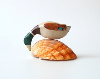 Tiny Miniature Drinking Wild Duck (Mallard), Miniature Ceramic Sculpture by Eyal Binyamini, StudioLind