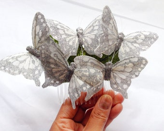 Monarch glen feather butterfly hair comb hairpiece bridal weddings boho glittery silver
