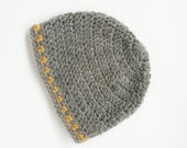 sample sale: Grey Beanie / Hat with yellow accent baby-toddler. (Crochet)