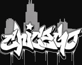 Chicago Graffiti Skyline T-Shirt Retro Chi Town Windy City Graff Art DJ Hip Hop Street Urban Tee Shirt Tshirt Mens Womens S-3Xl
