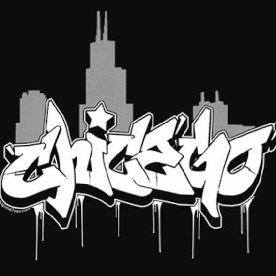 Chicago Graffiti Skyline T-Shirt Retro Chi Town Windy City