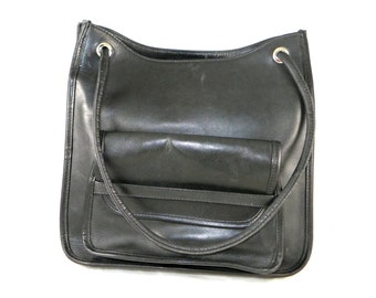 FINAL SALE Vintage J. Crew black leather polished career tote bag / shoulderbag / silver fittings, buttery soft