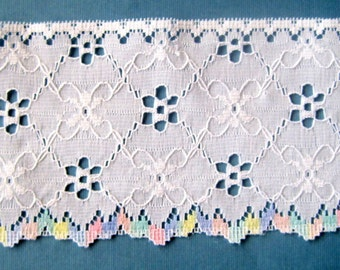 Scalloped Pastels Eyelet Trim, Pastels / White, 3 inch wide, 1 Yard, For Heirloom, Nursery, Reborn, Dolls, Costume, Apparel, Decor