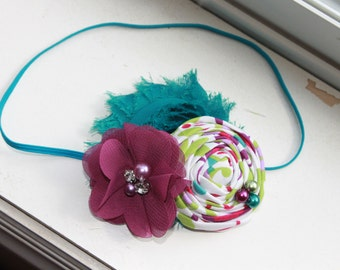 Teal and Plum purple rosette headband, teal headbands, newborn headbands, flower headbands, rosette headbands, photography prop
