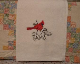 Cardinal on a Snowy Branch Flour Sack Dish Towel