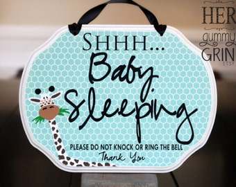 CUSTOM CREATED Baby sleeping sign, Little Ones Sleeping Sign, do not knock, do not ring the bell  -  9 x 7
