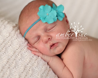 baby girls headbands..newborn headbands..torquoise headbands..girls torquoise headbands..baby headbands..torquoise headband