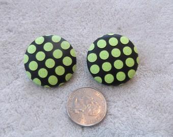 Vtg Clip On Earrings-JOAN BARI-Neon Green Poka Dotted Buttons-C2045