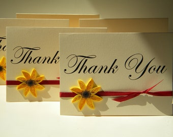 Sunflower thank you card / thank you card/ unique thank you card / handmade thank you card