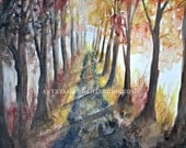 Autumn Walk; Fall Painting; Original Watercolor Painting