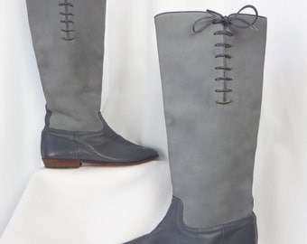 70s Beene Bag Geoffrey Beene grey riding boots/ two tones grey/ all leather: size US 6 womens