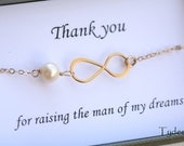 Mother in law,Thank you For Raising the Man of My Dreams card with n GOLD infinity  bracelet,Mother jewelry,Mother of groom,Greeting card