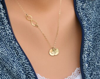 Gold Infinity necklace with initial charm,Sideways,Initial necklace,Friendship,Personalized initial,Everyday,horizontal cross,