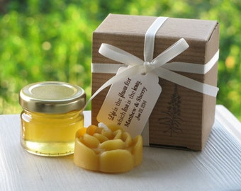 Honey & Beeswax Candle Combo Favors for Weddings, Birthday, Showers, Parties, Corporate Events