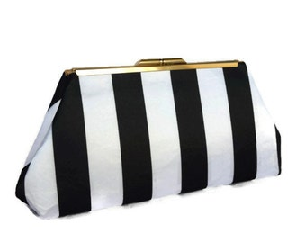 Black & white striped satin clutch/ Bridal accessory/ Wedding clutch purse/  bridal purse ,bridesmaid gift purse/ Black and white wedding