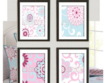 Brooklyn Art Baby Nursery Art Prints Collection  -Set of (4) - 8x10 Prints -Baby Pink Blue White   (UNFRAMED)