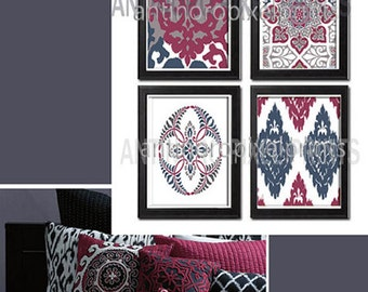 Red Navy Greys Ikat Digital  inspired  Wall Art Prints Collection -Set of 4 - 8x10 Prints -   (UNFRAMED)