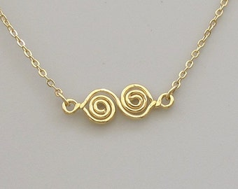 Double  Spiral  Gold pendant necklace.Gold swirl  Everyday jewelry.