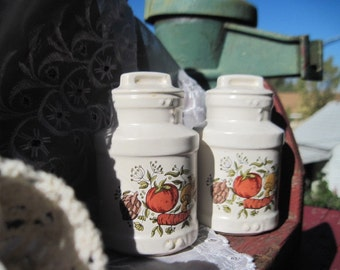 Sweet Pair if Two Vintage Milk can Salt and Pepper Shakers with Fruit On them :)